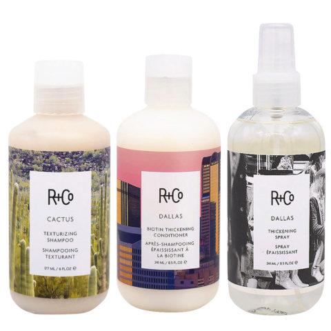 R+Co Dallas Kit para Cabello Fino Shampoo 177ml Acondicionador 177ml Spray 241ml