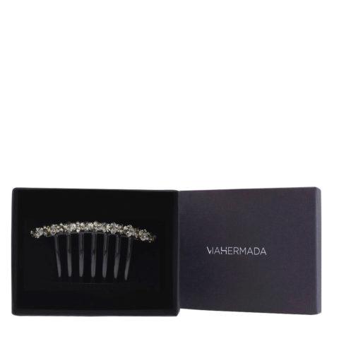 VIAHERMADA Clip para peine de plástico con cristales de antracita