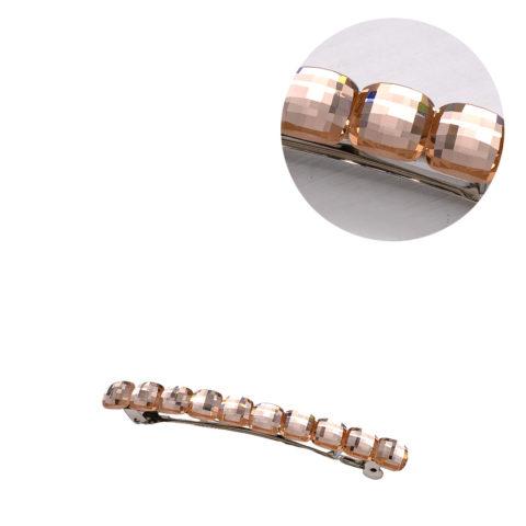 VIAHERMADA Pinza de pelo Matic con cristales de oro rosa
