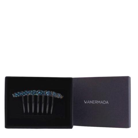 VIAHERMADA Pinza de plástico para peine con cristales azules