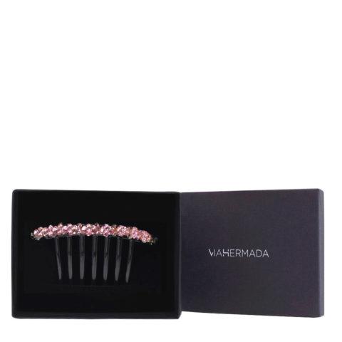 VIAHERMADA Pinza de pelo de peine de plástico con cristales rosas