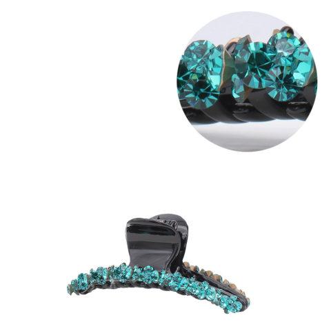 VIAHERMADA Pinzas para el cabello con cristales oblicuos verdes