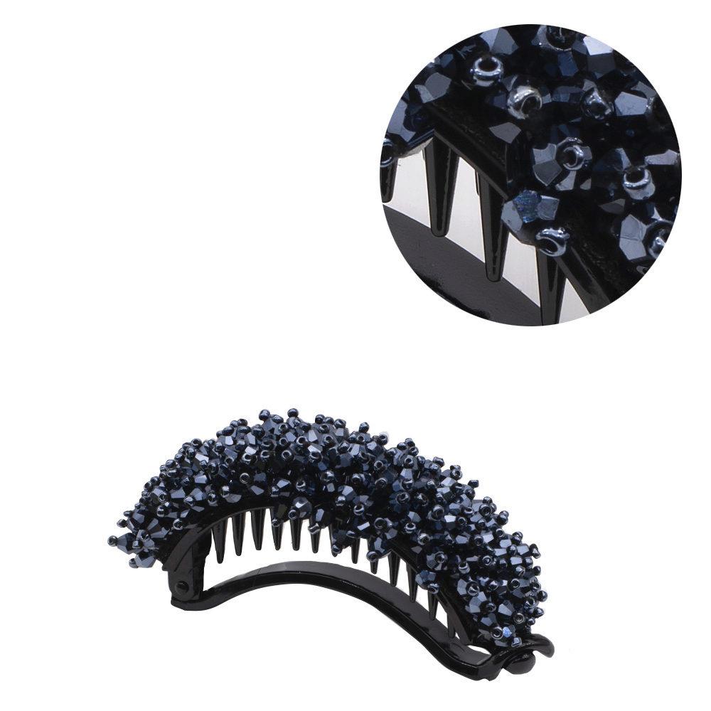 VIAHERMADA Pinza de pelo de plátano con cristales azules