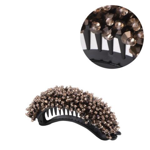 VIAHERMADA Pinza de pelo de plátano con cristales de bronce