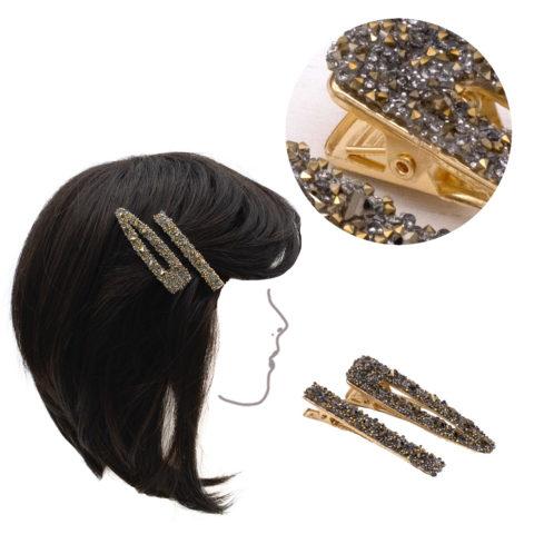VIAHERMADA Juego de dos Clips de metal dorado con pedrería dorada y antracita