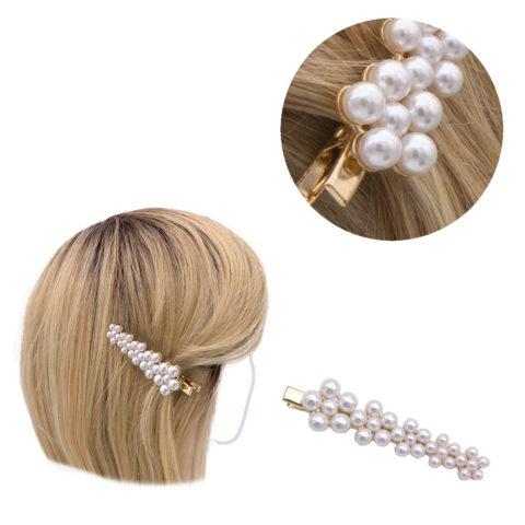 VIAHERMADA Pinza para el pelo Dorada con Perlas 8x2cm
