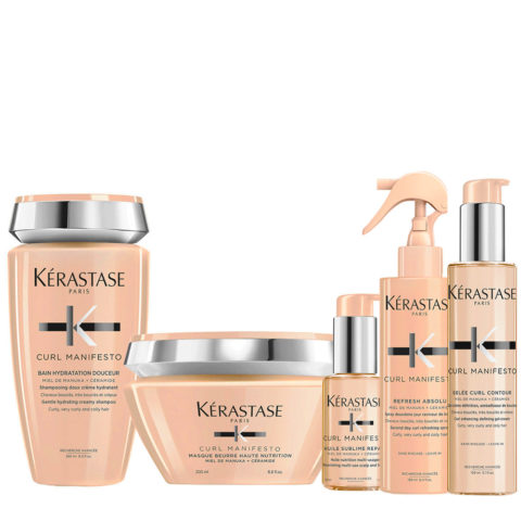 Kerastase Curl Manifesto Kit Shampoo250ml Mascara200ml L'Huile Precieuse 50ml Spray150ml Crema150ml