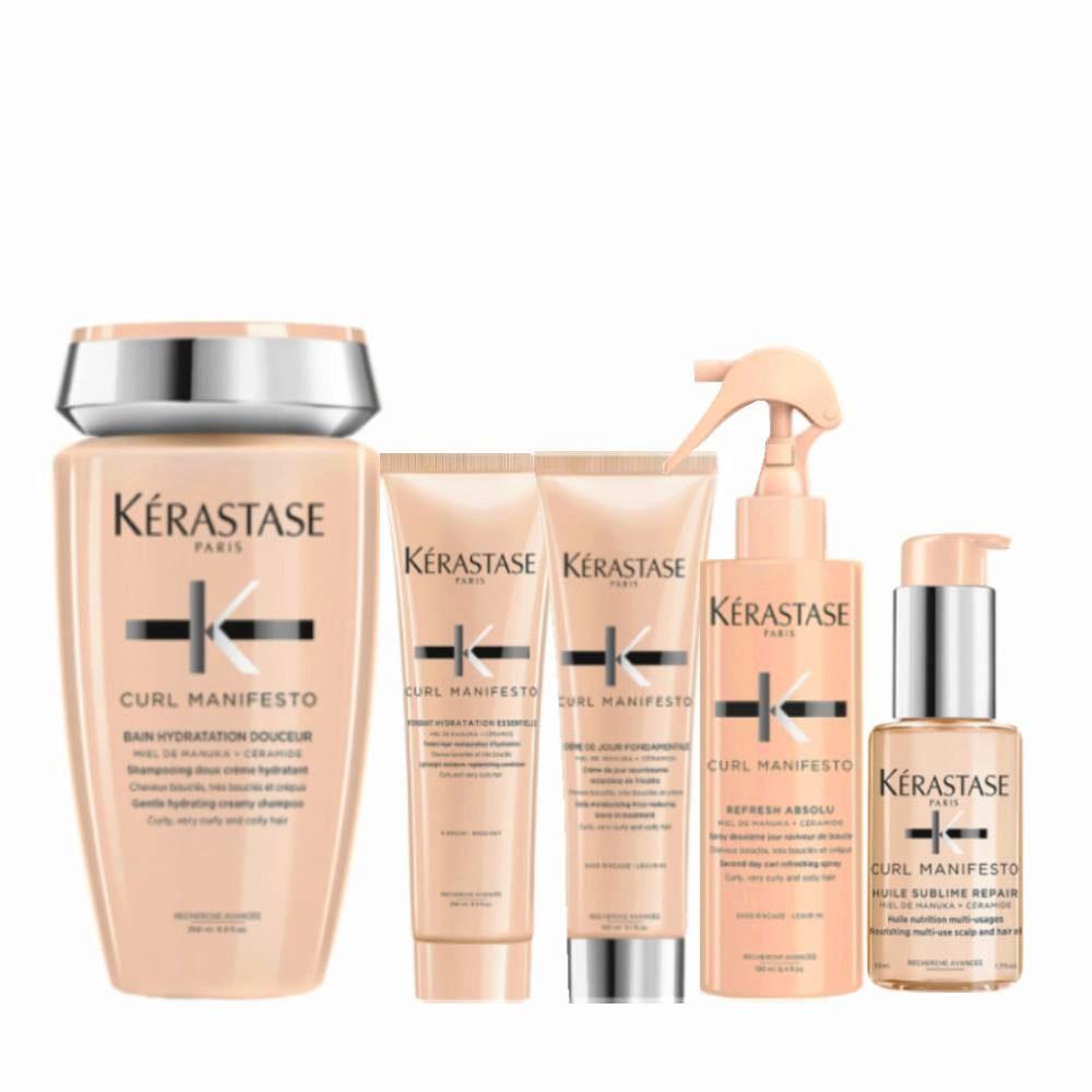 Kerastase Curl Manifesto Kit para Cabello Rizado Champú250ml Acondicionador250ml Crema150ml Spray190ml